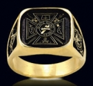 3345-GP S.S.18K Gold Plated Knights Templar Ring