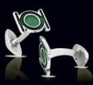 M023 Sterling Silver Green Lantern Cufflinks