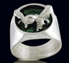 3202 Sterling Silver Green Hornet Ring