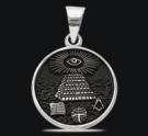 1234 Solid Sterling Silver Masonic Pendant
