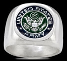 3580 Solid Sterling Silver US Army Military Ring