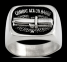 3602 Solid Sterling Silver Combat Action Badge Ring