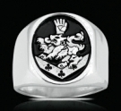 3553 SOLID STERLING SILVER CULLEN FAMILY CREST RING