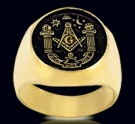 3354-GP S. Silver 18k Gold Plated (aude,vide,tace) Masonic Ring