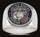 3552 Solid Sterling Silver Marine Corps USMC Ring