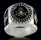 3414 Sterling Silver Skull Masonic Ring