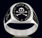 3388 Solid Sterling Silver Skull  Masonic Ring