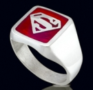 3386R Sterling Silver Superman Red Ring