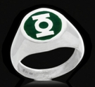 3129b Sterling Silver Green Lantern Ring