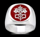 3587 Solid Sterling Silver Vatican Christian Ring