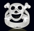 3456 Solid Sterling Silver Skull Heart Ring