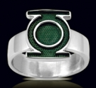 3601 Solid Sterling Silver Green Lantern Ring