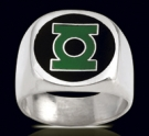 3526N Solid Sterling Silver Green Lantern Ring