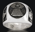 3527 Solid Sterling Silver All Seeing Eye Masonic Ring