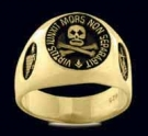 3305-GP Solid Sterling Silver 18K Gold Plated Skull Masonic Ring