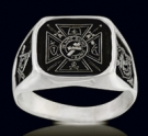 3345 Sterling Silver Knights Templar and Crown Masonic Ring