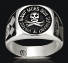 3520 Solid Sterling Silver Skull Virtus Masonic Ring