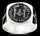 3568 Solid Sterling Silver Masonic Ring