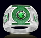 3218 Sterling Silver Green Lantern Ring