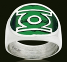 3164 Sterling Silver Green Lantern Acrylic Ring