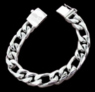 2347a S. Silver Heavy Figaro Bracelet Weight 50 grams
