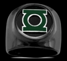 3591NP Black Sterling Silver Green Lantern Ring