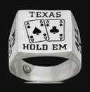 3504 Solid Sterling Silver Texas Holdem Mens Ring