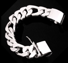 2347h S. Silver Heavy Figaro Bracelet Weight 130 grams