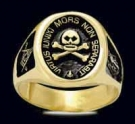 3388-GP S. Silver 18K Gold Plated Skull Masonic Ring