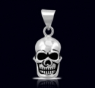1255 Solid Sterling Silver Skull Face Pendant