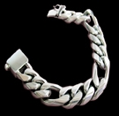 2347e S. Silver Heavy Figaro Bracelet Weight 90 grams