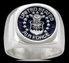 3582 Solid Sterling Silver USA Air Force Military Ring