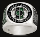 3531 S. Sterling Silver Earth`s Green Lantern Kyle Rayner Ring
