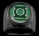 3591BP Black Sterling Silver Green Lantern Ring