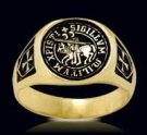 3356-GP Sterling Silver 18K Gold Plated KnigthsTemplar Ring