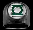3591P Black Sterling Silver Green Lantern Ring