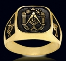 3376-GP S.Silver 18K Gold Plated (aude,vide,tace) Masonic Ring