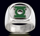 3526B Solid Sterling Silver Green Lantern Ring