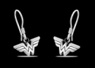 1251 Solid Sterling Silver Wonderwoman logo earrings