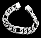 2347g S. Silver Heavy Figaro Bracelet Weight 115 grams