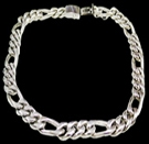 2347N S. Silver Heavy Figaro Necklace Weight 180 grams