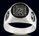 3321 S. Sterling Silver Knights Templar and Crown Masonic Ring