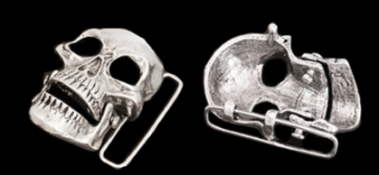 BB5130 Sterling Silver Skull Belt Buckle.