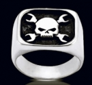3460 Solid Sterling Silver Biker Skull Ring