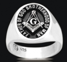 3498 Solid Sterling Silver Masonic Ring