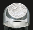 3597 Sterling Silver Knights Templar Wax Seal Stamp Ring