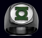 3526P Solid Black Sterling Silver Green Lantern Ring