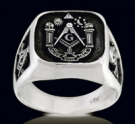 3376 Sterling Silver (aude,vide,tace) Masonic Ring