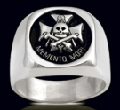 3605 Solid Sterling Silver Skull Masonic Ring