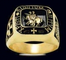 3377-GP Sterling Silver 18K Gold Plated Knights Templar Ring